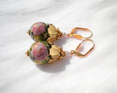 Pink Rose Romantic Golden Tensha Earrings by juta230 on Etsy, $15.00