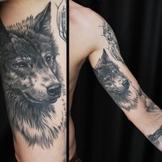 Black and gray wolf tattoo. Artist Martin Silin. #wolf #wolfattoo #animal #wildlife #nature #animaltattoo #tattoo #innerarm #blackandgray #blackngray #wolfportrait #manwithtattoos #riga #tattooinriga #tattooed #tattooist #tattooart #art #tattooink #ink #inked #skin #tattooartist #tattoofrequency #share #like #follow