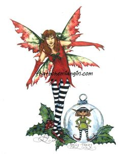Holly Faery Print by Amy Brown. Measures 8-1/2 x 11 inches... Out of Print... very few remaining in stock.