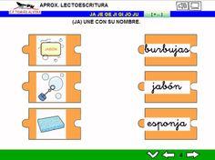 MATERIALES - Aproximación a la lectoescritura: P -L - M - S - T - N - Ñ - F - D - B - V - R (fuerte y suave) - C - K - Q - H - CH - Z- CE - CI - G (suave) - GÜ - GE - J.  Libros interactivos multimedia (LIMs) de actividades de aproximación a la lectoescritura para Educación Infantil y 1º ciclo con pictogramas de ARASAAC y fotos en letra cursiva Escolar 2.