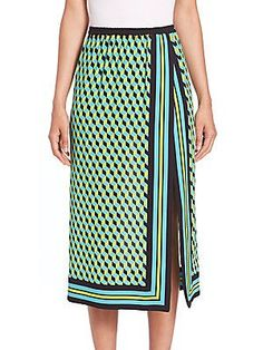 Michael Kors Collection Cube-Print Silk Scarf Skirt - Aqua  - Size