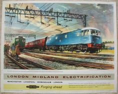 "London Midland Electrification - Forging Ahead (Between Liverpool and Crewe), by John Greene. An eye-catching artistic view of a ""New"" blue electric Class 81 and train speeding through Cheshire on the newly electrified line between Liverpool and Crewe. (Note the lack of fluorescent orange clothing). Original Vintage Railway Poster available on originalrailwayposters.co.uk"