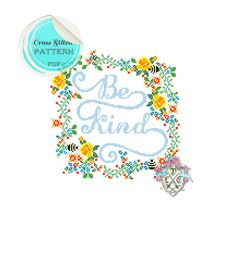 Typography and floral Be Kind Cross Stitch by plasticlittlecovers