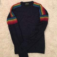 """Apres- Rainbow Sweater Vintage ski sweater from Meister. Excellent condition, no rips, stains, ect. Measures- 21.5"""" pit to pit, 24"""" long. 100% acrylic, machine washable. Vintage Sweaters Crew & Scoop Necks"""