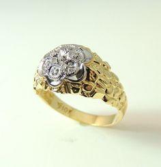 Men's Diamond 10k Nugget ESTATE Ring Perfect by PremierAntiquesNY