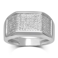 Unending Love 10k White Gold 1/4ct TDW White Diamond Ring (I-J, I2-I3) (Size 10.5, White), Men's
