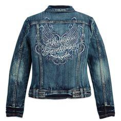 96029-11VW - Harley-Davidson® Womens Pinstripe Wings Studded Rhinestone Blue Denim Jacket - Barnett Harley-Davidson®