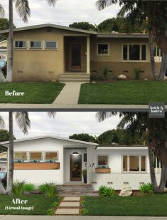 California Modern - We updated this house with a lighter color palette with hints of the modern character that the clien - Ranch Exterior, Stucco Exterior, House Paint Exterior, Exterior Remodel, Exterior Design, Stucco House Colors, House Makeovers, Home Exterior Makeover, Stucco Homes