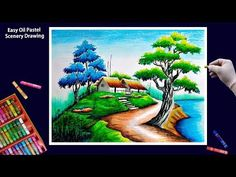 Beautiful Scenery Drawing with Oil Pastels-Step by Step Beautiful Scenery Drawing, Drawing Scenery, Scenery Paintings, Oil Pastel Paintings, Oil Pastel Art, Beautiful Drawings, Crayon Painting, Flower Painting Canvas, Moon Painting