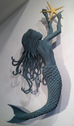 How crazy amazing is this mermaid!!!  Sea Swept Mermaid (carved wood/metal) approx. 40 x 53