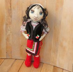 Купить Кукла в молдавском национальном костюме - ярко-красный, текстильная кукла, национальный костюм