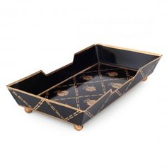 French Bee Black and Gold Guest Towel Tray