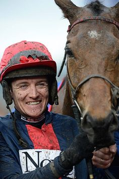 Cheltenham gold cup: Barry Geraghty celebrates with Bobs Worth in the unsaddling enclosure Cheltenham Racecourse, Sport Of Kings, Gold Cup, Horse Racing, Bobs, Blue Eyes, Riding Helmets, Horses, Celebrities