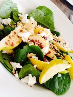 Pear and Goat Cheese Spinach Salad.  A delicious Spinach salad with sliced pear, goats cheese, dried cranberries, almonds, chia and flax seed. All topped with a homemade Sweet Oh, Canada Vinaigrette: 1tbsp Epicure Oh Canada, 1tsp dry mustard, 1/4 cup olive oil, 1/8 cup white vinegar.