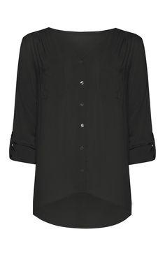 Primark - Blusa preta tecido fluido