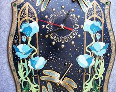 Wall Clock style Art Nouveau Golden dragonfly Wall Home Decor Hanging Clock unusual clock creative watches wall unique hours Hand Painted Clock