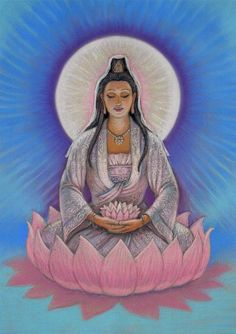 Kuan Yin female Buddha lotus