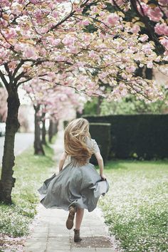 running beneath the blossoms