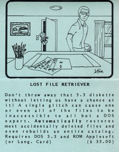 Flyer ad for Lost File Retriever program (1982). Glitch, Telephone, Connection, Software, Lost, Let It Be, Memes, Phone, Meme
