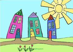 Rainbow Houses 21 by WendyFerguson