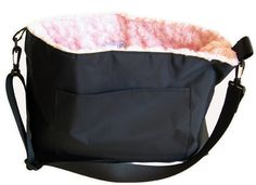 Pupper's Purse - Black with Pink Curly Interior. Available @ http://doggyinwonderland.com/item_331/Puppers-Purse--Black-with-Pink-Curly-Interior.htm