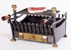 CHARCOAL BARBECUE IN FORGED IRON AND CAST BRASS