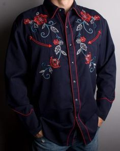COWBOY STYLE SHIRT Mens Navy Blue Embroidered Floral Design Long Sleeve Scully Western Shirt