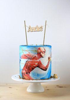 The Flash. for my Son - cake by Maria João Bolos Artísticos Flash Birthday Cake, Halo Birthday Parties, 9th Birthday Cake, Summer Birthday, Birthday Ideas, Bolo Flash, Flash Cake, Flash Superhero, Superhero Party