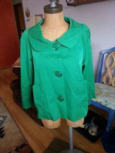 Fashionable Emerald Green (2013 color of the year) Trapeze Jacket. Size XL. Vertigo Paris. For sale on eBay!