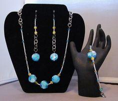 Blue & Yellow Beaded Jewelry Set - http://www.etsy.com/shop/BHawkDesigns