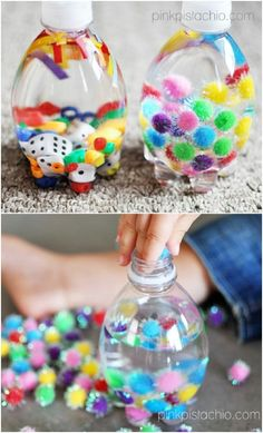 30 Fun And Educational Baby Toys You Can DIY In Your Spare Time Baby toys, particularly educational baby toys, can cost a lot of money. Unfortunately, babies tend to grow tired of their toys or outgrow them so quickly that you may think you've bought them Craft Activities For Kids, Infant Activities, Time Activities, Water Bottle Crafts, Water Bottles, Baby Bottles, Best Baby Toys, Baby Diy Toys, Diy Toys For Babies