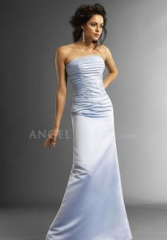 A line Natural Waist Strapless Satin With Ruching Sleeveless Bridesmaid Dress