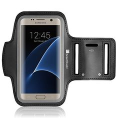 Galaxy S7 Armband, GreatShield FIT Neoprene Stretchable Arm Holder Case for Sports Workout with Key Slot for Samsung Galaxy S7/S6/S6 Edge, iPhone 7, HTC One M9/M8, LG G3, Motorola Droid Turbo (Black)