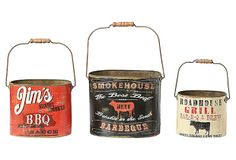 "Tin ""BBQ"" Buckets, Asst. of 3 on OneKingsLane.com 11""L x 9""H;  8.5""L x 7.5""H;  7.5""L x 6.5""H"
