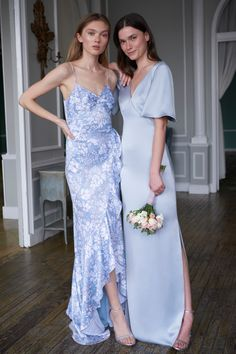 Light blue charmeuse and floral bridesmaid dresses from Monique Lhuillier Pale Blue Bridesmaid Dresses, Tulle Bridesmaid Dress, Blue Bridesmaids, Prom Dresses, Wedding Dresses, Monique Lhuillier Bridesmaids, Monique Lhuillier Bridal, Dress Collection, Swatch