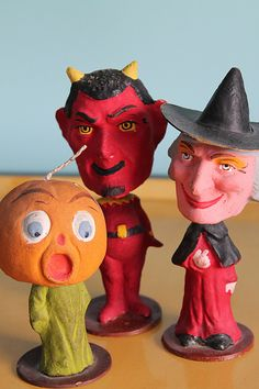 group of German composition Halloween nodders, JOL, Devil, Witch