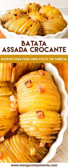 Batata Assada Crocante - Receitas deliciosas de Natal e Ano Novo. #receitas #ceia #batatas #bacon #anonovo