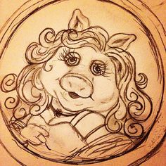 I've decided that Miss Piggy is my spirit animal. The Muppet Show, Miss Piggy, Artist Art, Spirit Animal, Fanart, Doodles, Sketch, Drawings, Disney