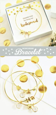 thank you for being my bridesmaids custom gold bangle bracelets