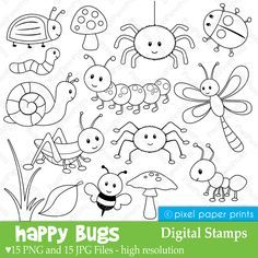 Happy Bugs – Digital Stamps Are you looking for cute high quality images to use in your projects? You've come to the right place! You can print these digital stamps to create coloring pages. Clipart, Embroidery Patterns, Hand Embroidery, Machine Embroidery, Busy Book, Digi Stamps, Colouring Pages, Fairy Coloring, Kids Coloring