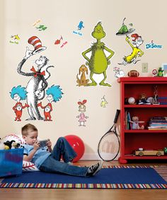 $29.99 OMG, order some more of these please!! I want these!! Love this Dr. Seuss Giant Wall Decal Set on #zulily! #zulilyfinds