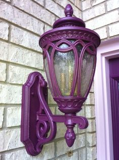 The Little Purple Cottage on Lilac Lane Shades Of Purple, Deep Purple, Light Purple, Purple Home, Purple Front Doors, Front Door Lighting, Exterior Lighting, All Things Purple, Purple Stuff