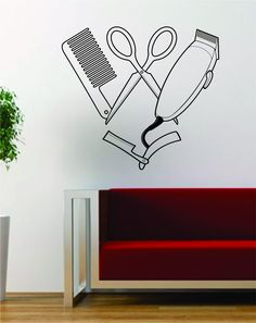 Barber Clippers Scissors Design Barbershop Hair Salon Decal Sticker Wall Vinyl Art Decor Travel