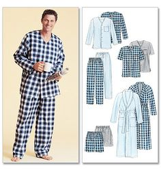 McCall's Sewing Pattern Men's Robe, Belt, Tops, Pants and Shorts Mccalls Patterns, Sewing Patterns, Men's Robes, Sewing Online, Pull On Pants, Men's Pants, Sleepwear & Loungewear, Vogue, Pajama Shorts