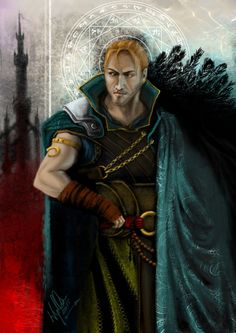 yuhimebarbara: Lets pretend that Anders never agreed to be a host for Justice, he never got to Kirkwall, he went to Tevinter instead Card-like painting made for Greg Ellis, who voiced Anders in Awakening.