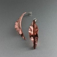 Fold Formed Copper Jewelry / Art imitates life in these Copper Fold Formed Leaf Earrings. Perfect for the girl who is in touch with nature and on top of fashion, the hand-chased leaf design dangles brightly from Sterling Silver posts. http://www.ilovecopperjewelry.com/copper-fold-formed-leaf-post-earrings.html  $65.00