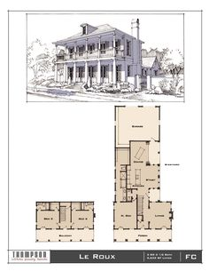 Traditional Neighborhood (TND) House designs in various styles. 3 Bedroom Plan, New Urbanism, Southern Architecture, Vintage House Plans, French Colonial, House Blueprints, Public Spaces, Plan Design, House Floor Plans