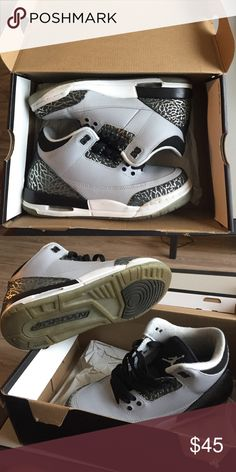 Jordan 3s gradeschool Wolf grey, metallic silver, black Jordan Shoes Sneakers