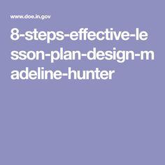 madeline hunter lesson plan format