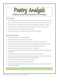Worksheets Analyzing A Poem Worksheet pinterest the worlds catalog of ideas poetry analysis questions plus many other free printables for study